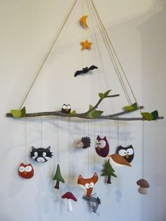 Mobile - Mobile XXL ** forest friends ** 16 pieces - a designer piece by .- Mobile – Mobile XXL **Waldfreunde** – ein Designerstück von Mobile – Mobile XXL ** forest friends ** 16 pieces – a … - Boy Mobile, Baby Mobile Felt, Mobiles, Felt Crafts, Diy And Crafts, Arts And Crafts, Baby Zimmer, Baby Blog, Forest Friends