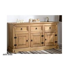 Quality Waxed Cabinet Furniture Solid Pine Large Sideboard Mexican Drawer Door
