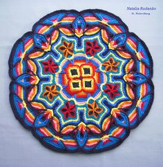 Ravelry: Project Gallery for Overlay Mandala Pillow Cover pattern by Melody MacDuffee