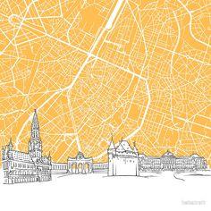 Brussels Belgium Skyline Map