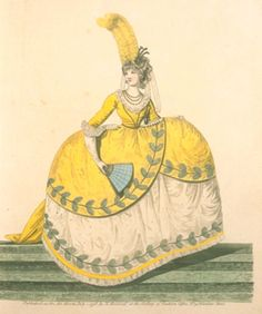 Gallery of Fashion, July 1798.   Another yellow court gown.  May I take a moment to point out the most epic feather in the history of feathers.
