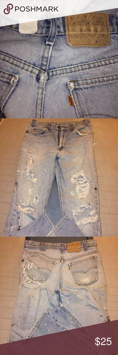 """VTG Orange/Little e Levis - thrashed Distressed from use, none on purpose. Have had them at least 25yrs (I think). 33""""W x 32""""L Levi's Jeans Boyfriend"""