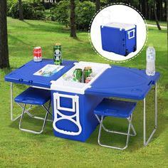 Multi Function Rolling Cooler Picnic Camping Outdoor w/ Tabl.- Multi Function Rolling Cooler Picnic Camping Outdoor w/ Table & 2 Chairs Blue/red Table Camping, Camping Glamping, Family Camping, Camping Hacks, Camping Ideas, Camping Cooking, Camping Trailers, Camping Supplies, Camping Essentials