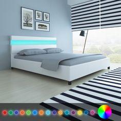 LED világítású műbőr kárpitozott fejtámlás ágy 200 x 160 cm fehér[3/10]