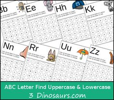 Free ABC Letter Find Uppercase & Lowercase for all 26 letters - 3Dinosaurs.com