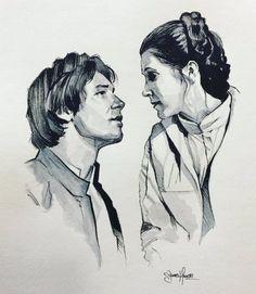 "cinexphile: """"Han and Leia� by James Hance � Han Solo Leia, Han And Leia, Princesa Leia, Star Wars Art, Star Trek, Star Wars Drawings, Star Wars Jokes, War Film, Star Wars Tattoo"