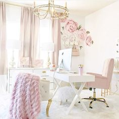 Turn your boring bland home office into a super-chic gorgeous workspace. Here are 39 ideas to inspire you. Turn your boring bland home office into a super-chic gorgeous workspace. Here are 39 ideas to inspire you. Decor, Home Office Decor, Pink Home Offices, Interior, Workspace Inspiration, Chic Home, Home Decor, Trendy Home, Office Design