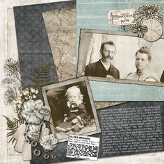 Joseph & Carrie...tilted silver-blue background papers, silver flowers and a vintage silver watch set the theme for this lovely 25th anniversary page. An old newspaper clip about the couple completes the layout perfectly.