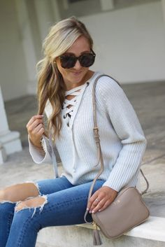 💥 Flash sale on this cute lace-up sweater that comes in 4 perfect Fall colors 😍🍂 Get exact details here in your web browser: http://liketk.it/2pvZv OR shop without registering @liketoknow.it by going to the 'Shop My Instagrams' tab on my blog! #liketkit