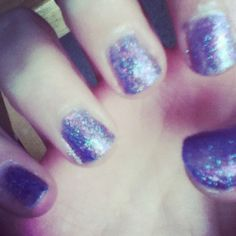 Purple and blue glitter. Painted my nails today and this is the result!