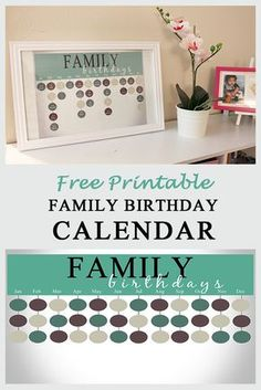 Free Printable Family Birthday Calendar- get all of those important birthdates recorded in one place! If you are looking for beautiful free printables. Birthday Reminder Board, Birthday Calendar Board, Perpetual Birthday Calendar, Family Birthday Board, Birthday Book, Birthday Diy, Family Calendar, Diy Calendar, Printable Calendar Template