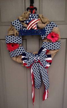 Burlap God Bless America Wreath Memorial Day 4th of July Patriotic | TheShabbyKnack - on ArtFire
