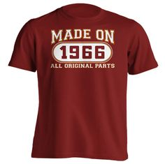 50th Birthday Gift T-Shirt - Made In 1966 All Original Parts - Short Sleeve Mens T-Shirt