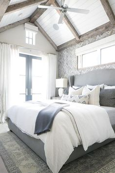 Gray Herringbone Tile Accent Wall, Transitional, Bedroom