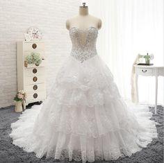 2016 New Luxury Beads Sequins Wedding Dress Sweetheart