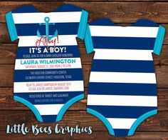 10 Anchor Baby Shower Invitations Sailor by LittleBeesGraphics