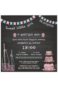 Προσκλητήριο βάπτισης για κορίτσι τύπου μαυροπίνακας candy bar με σημαιάκια, λεμονάδα και γλυκάκια/120
