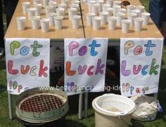 "A number of pots are filled with sand.In some a coin or small prize is placed in the bottom before the sand is added so that it is completely hidden.People then choose a pot of sand which they pour through a garden riddle / sieve.If they are lucky the prize will be revealed.If not "" Oh well they can always buy another pot!"""