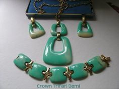 Crown Trifari demi jade green lucite     VJSE by art4u2buy on Etsy, $375.00