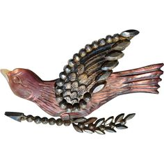 Victorian Mother of Pearl & Cut Steel Bird Brooch