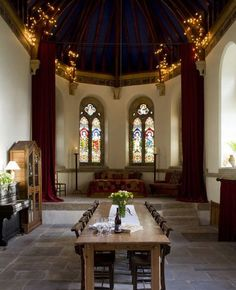 beautiful dining room in church that was turned into a private home!!!!