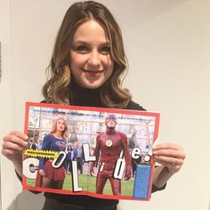 It's a bird, it's a plane, it's... #Supergirl @melissabenoist reading her crossover story in this week's issue! Get the scoop on newsstands today and on EW.com. : @robynross214.