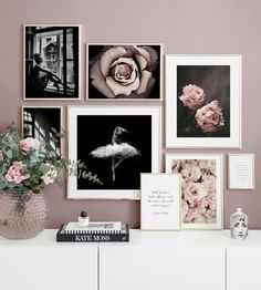 Gallery wall black and white photo art pink flowers - Wall art with beautiful posters and art prints - Find inspiration for your personal wall art with posters & art prints from Posterstore.se Spice up your living room or bedroom. Inspiration Wand, Interior Inspiration, Living Room Pictures, Wall Art Pictures, Poster Store, Bedroom Decor, Cozy Bedroom, Gallery Wall, Home Decor