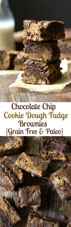 Chocolate chip cookie dough fudge brownies with eggless cookie dough fudge layered into rich chocolate fudge brownies. You seriously won't believe these brownies are grain free, Paleo, and refined sugar free!