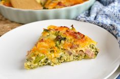 Slimming Eats Syn Free Crustless Ham and Broccoli Quiche - gluten free, Slimming World and Weight Watchers friendly Healthy Food Options, Healthy Eating Recipes, Healthy Baking, Healthy Snacks, Ww Recipes, Low Calorie Recipes, Cooking Recipes, Free Recipes