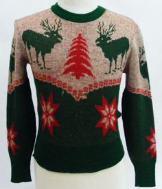 Vintage 40s Men's SportClad winter Christmas sweater