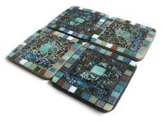 Glass Mosaic Coaster Set Kitchen Home by MosaicMargalita on Etsy, $23.90