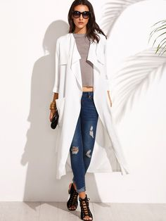 22$  Watch here - http://dix06.justgood.pw/go.php?t=4955 - White Lapel Tie Waist Pocket Long Outerwear