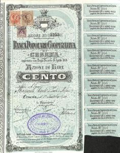 BANCA POPOLARE COOPERATIVA DI CESENA - #scripomarket #scriposigns #scripofilia #scripophily #finanza #finance #collezionismo #collectibles #arte #art #scripoart #scripoarte #borsa #stock #azioni #bonds #obbligazioni