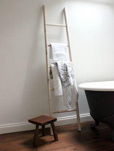 Hay Barn Ladders - - I spy pretty scarf & heels storage! Ladder Towel Racks, Ladder Storage, Towel Holder Bathroom, Bathroom Towels, Bathroom Ladder, Small Bathroom, Bathrooms, Vintage Bathroom Accessories, Hay Barn