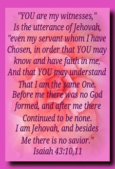 """YOU are my witnesses,"" is the utterance of Jehovah, ""even my servant whom I have chosen, in order that YOU may know and have faith in me, and that YOU may understand that I am the same One. Before me there was no God formed, and after me there continued to be none. I—I am Jehovah, and besides me there is no savior."" ~Isa 43:10,11"