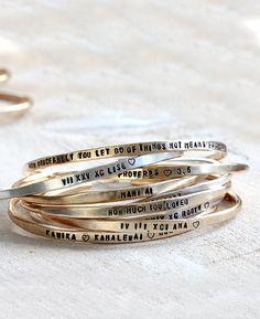 Personalized silver bracelet sterling silver cuff or brass cuff custom bracelet bangle from Praxis Jewelry
