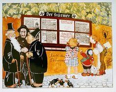 """Ilustração de um livro nazista destinado a crianças.  Os títulos dizem: """"Os judeus são a causa do nosso infortúnio"""" e """"Como o judeu trapaceia"""".  Foto tirada na Alemanha, 1936."""