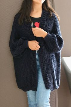 Items similar to Chunky Knit Cardigan Merino Wool Knitted Cardigan Oversized Chunky Knit Sweater Knit Loose Chunky Sweater Dark Blue Merino Knitted Sweater on Etsy, Diy Abschnitt, Knit Cardigan Pattern, Oversized Knit Cardigan, Sweater Knitting Patterns, Knitting Designs, Blue Cardigan, Cardigan En Maille, Rainbow Sweater, Knitted Coat, Crochet Fashion