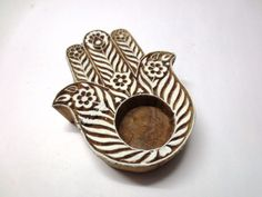 Indian Wood Hand Block Print Stamp Unique Hamsa Hand Pottery ToolClick the link now to find the center in you with our amazing selections of items ranging from yoga apparel to meditation space decor! Diy Clay, Clay Crafts, Arts And Crafts, Ceramics Projects, Clay Projects, India Crafts, Pottery Tools, Hand Of Fatima, Hamsa Hand