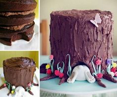Bunny Tree Stump Cake Recipe Video Tutorial