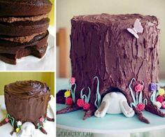Bunny Tree Stump Cake Recipe Video Tutorial   The WHOot
