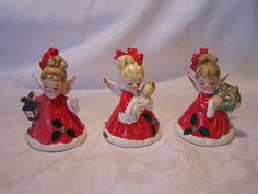 Vintage Christmas Josef Originals Girl Bells holding lantern, baby and wreath