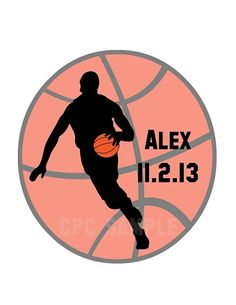 Basketball Silhouette Bar Mitzvah Logo, Party Favor Giveaway Logos, Gobos by Cutie Patootie Creations  www.cutiepatootiecreations.com