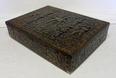 Antique Embossed Metal/Tin Art Nouveau Storage Box/Sewing Box/Boxes (West Germany) Home Decor