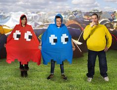 Who doesn't need these???  These fun waterproof ponchos are styled after the infamous red and blue ghosts Blinky and Inky from Pac-Man, sorry Pinky and Clyde fans.