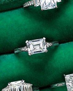 "Horizontal-Set Emerald-Cut Diamond Engagement Ring  ~~  Horizontal-Set Emerald-Cut Diamond Engagement Ring  ~  For a twist, choose a horizontally set emerald cut, like MaeVona's ""Eorsa"" (maevona.com)."