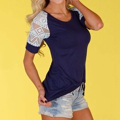 Fashion Summer Women Casual Short Sleeve Lace Patchwork T Shirt Female Clothing #Affiliate