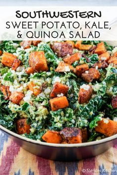 Southwestern Sweet Potato, Kale, and Quinoa Salad - Slender Kitchen. Works for Clean Eating, Gluten Free, Vegetarian and Weight Watchers® diets. 392 Calories.