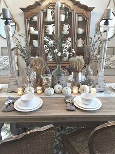 Natural and neutral tones crate a warm and inviting fall tablescape.  #TuesdayMorning has a great variety of fall naturals like the wheat bundles seen here!