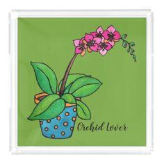 Watercolor Orchid Plant In Beautiful Pot Acrylic Tray - holidays diy custom design cyo holiday family